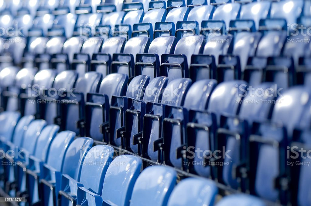 blue tip-up seats in baseball stadium royalty-free stock photo