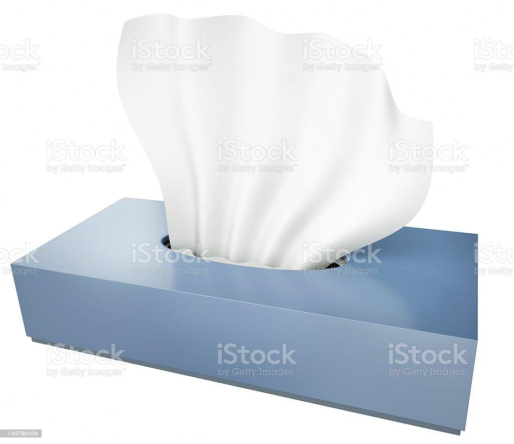 Blue tissue box on a white background stock photo