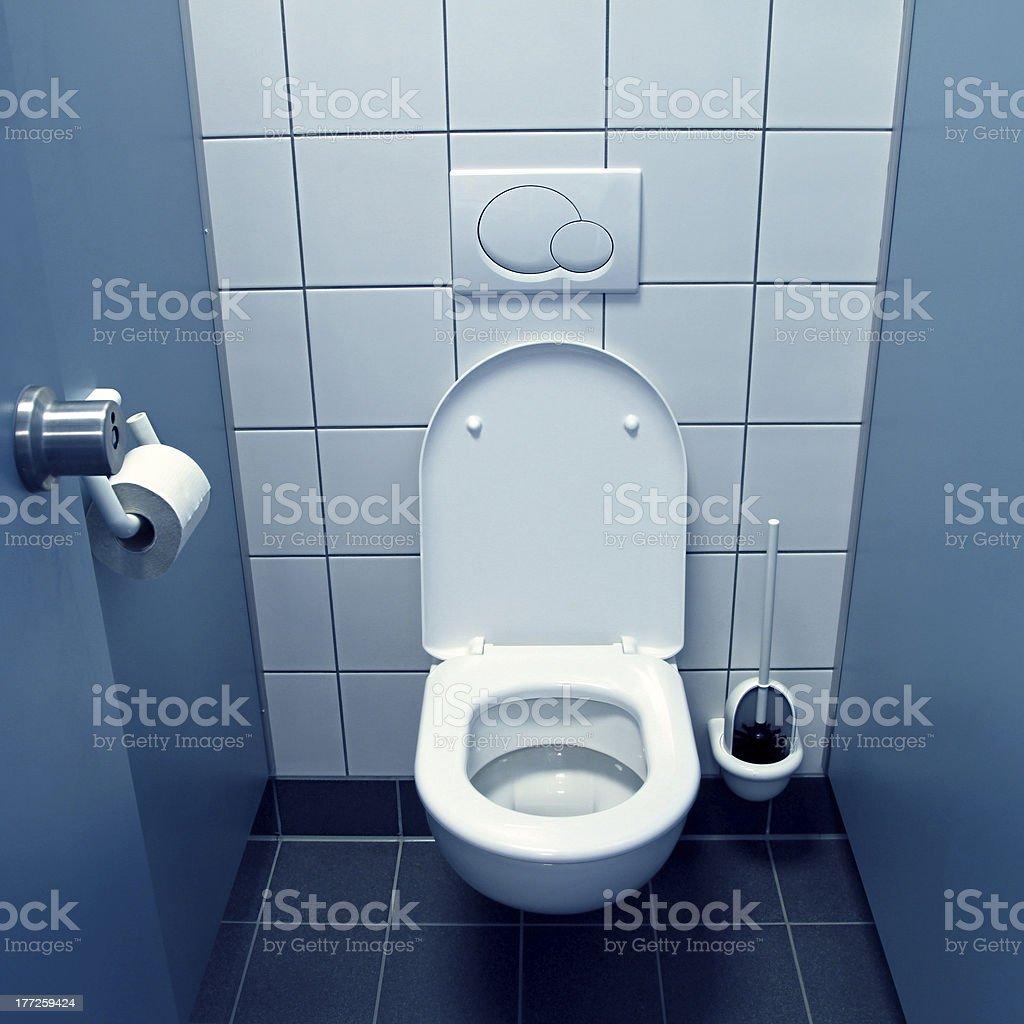 blue toilet stock photo