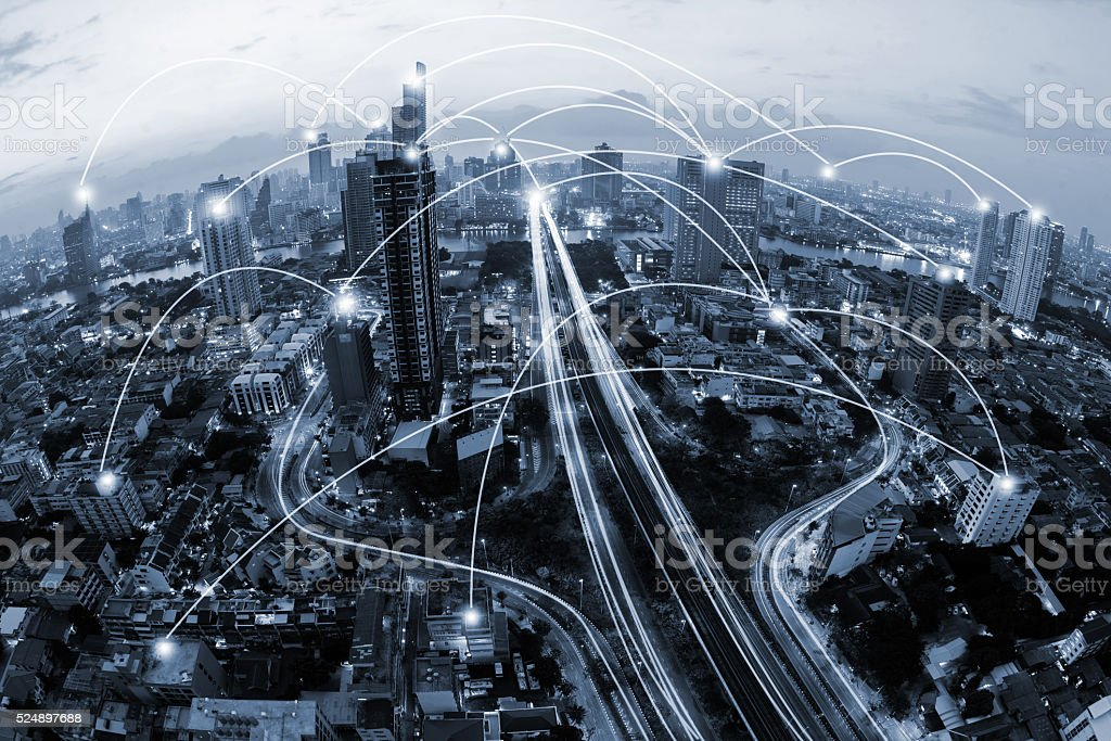 blue tone city scape and network connection concept stock photo