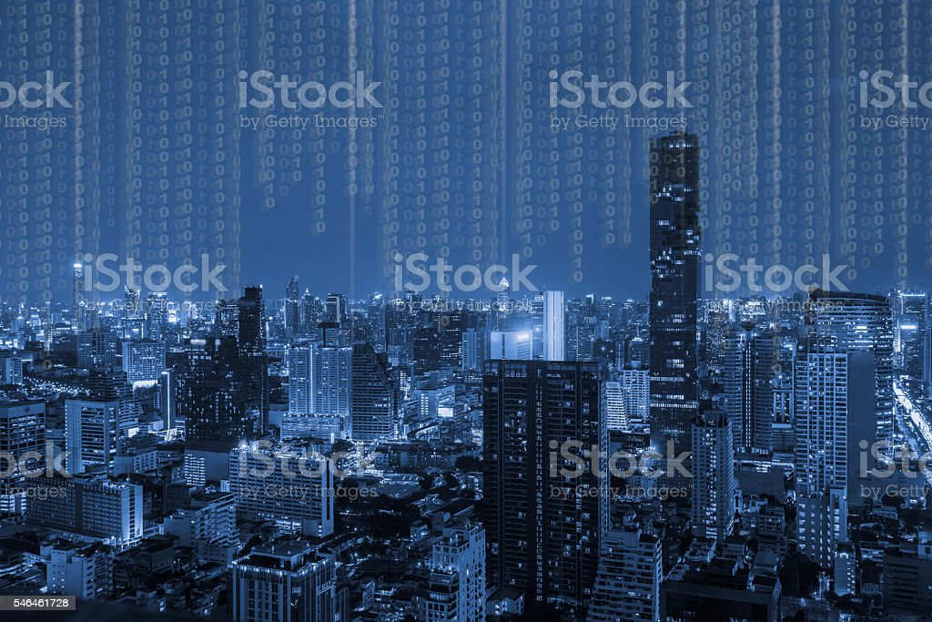 blue tone city scape and technology digital concept stock photo
