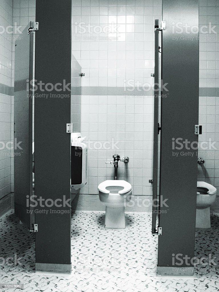 blue tone toilet stock photo