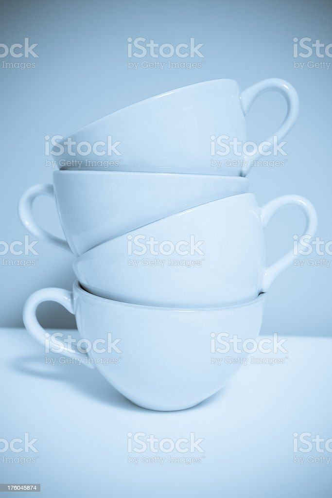 Blue toned Cups royalty-free stock photo