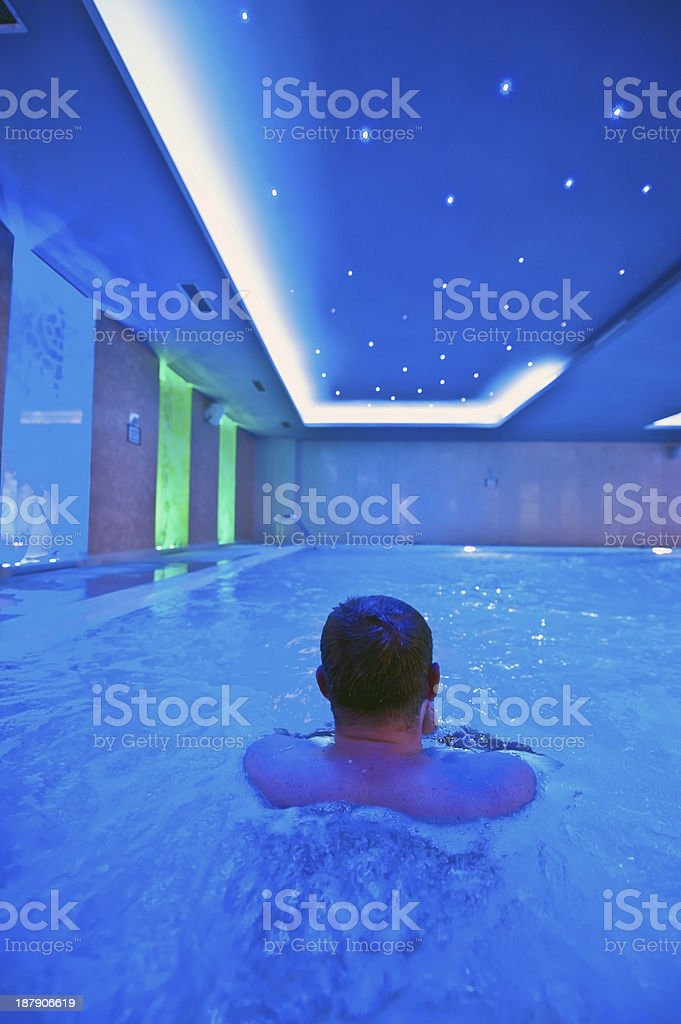 Blue toned indoor pool royalty-free stock photo