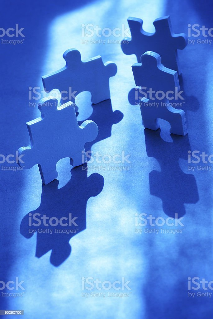 Blue Toned Puzzle Pieces royalty-free stock photo