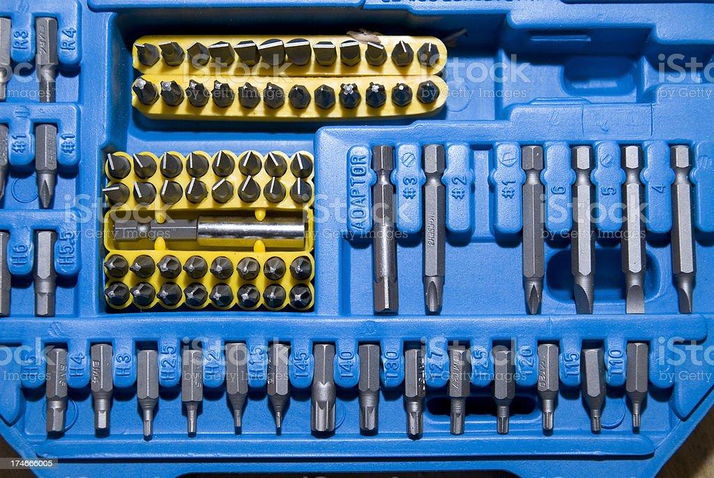 blue toolbox with boring bits -  Werkzeugkasten stock photo