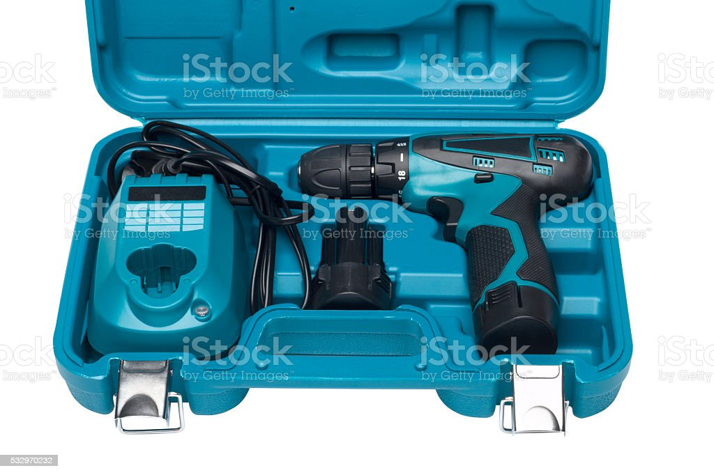 Blue toolbox with screw driver isolated on white stock photo