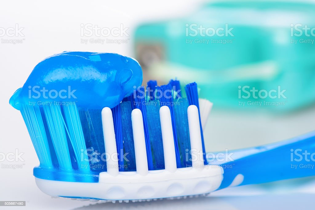 Blue Toothbrush with Toothpaste stock photo