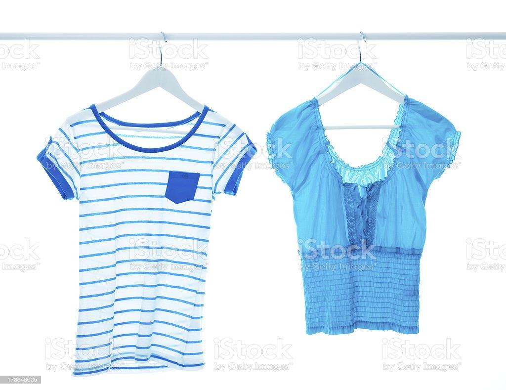 Blue Tops On Hangers stock photo