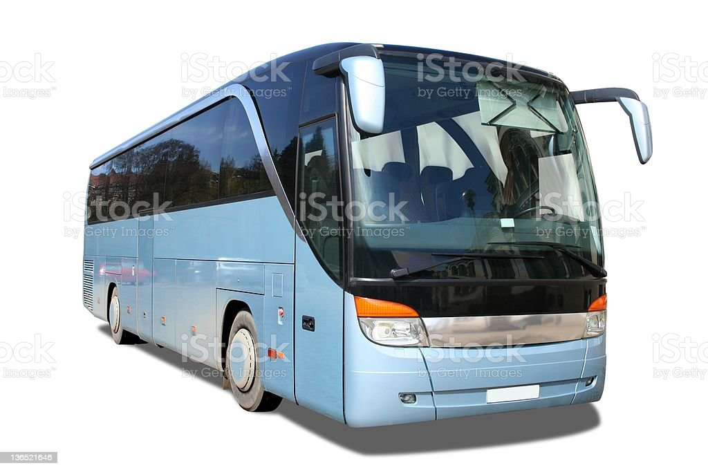 Blue touring bus with limo tint Windows royalty-free stock photo