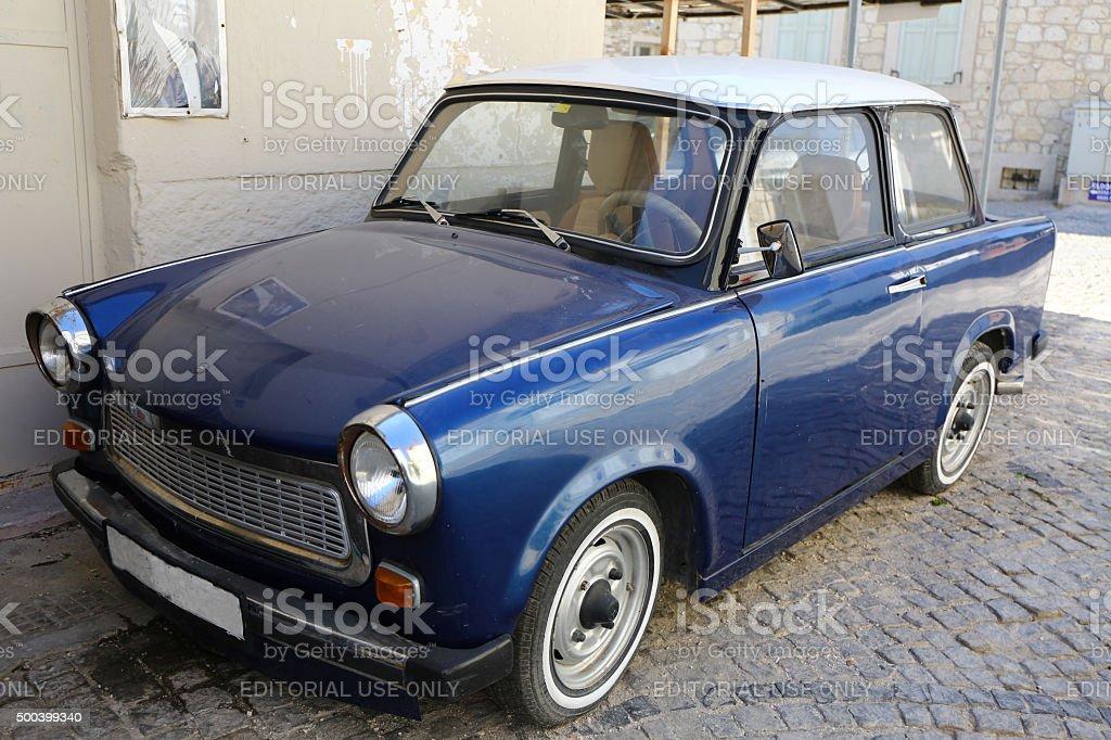 Blue Trabant stock photo