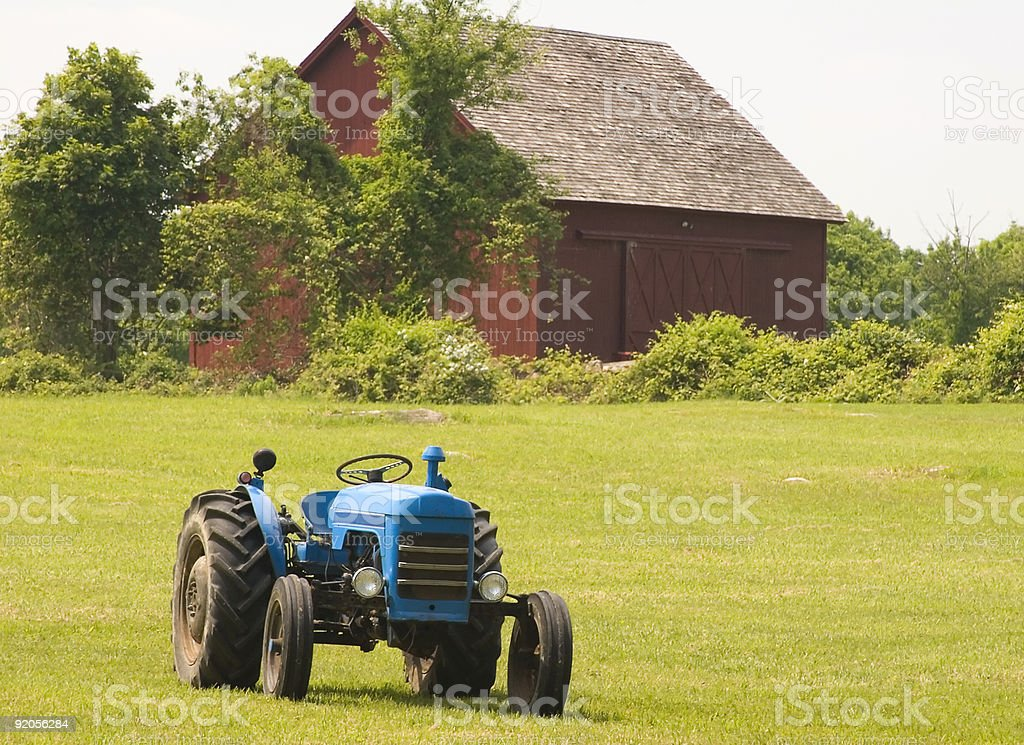 Blue Tractor royalty-free stock photo