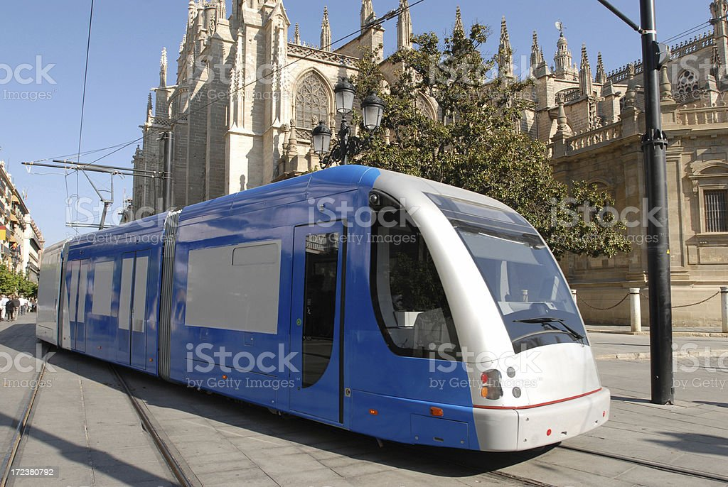 Blue Tram, Seville royalty-free stock photo