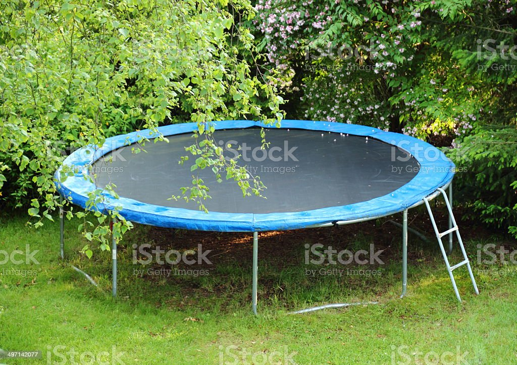 Blue trampoline on the lawn in garden stock photo