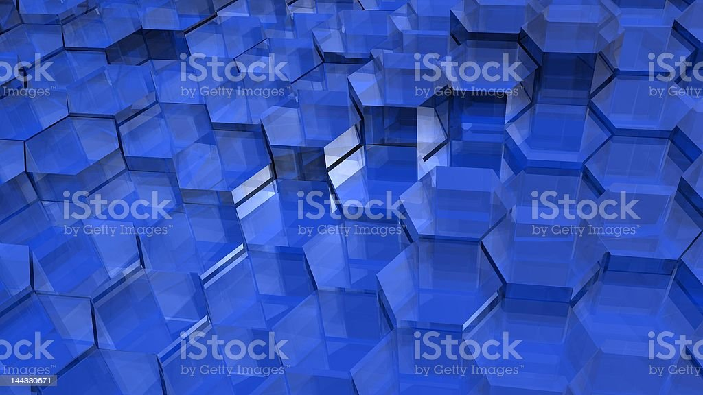 Blue Translucent Hexagons royalty-free stock photo