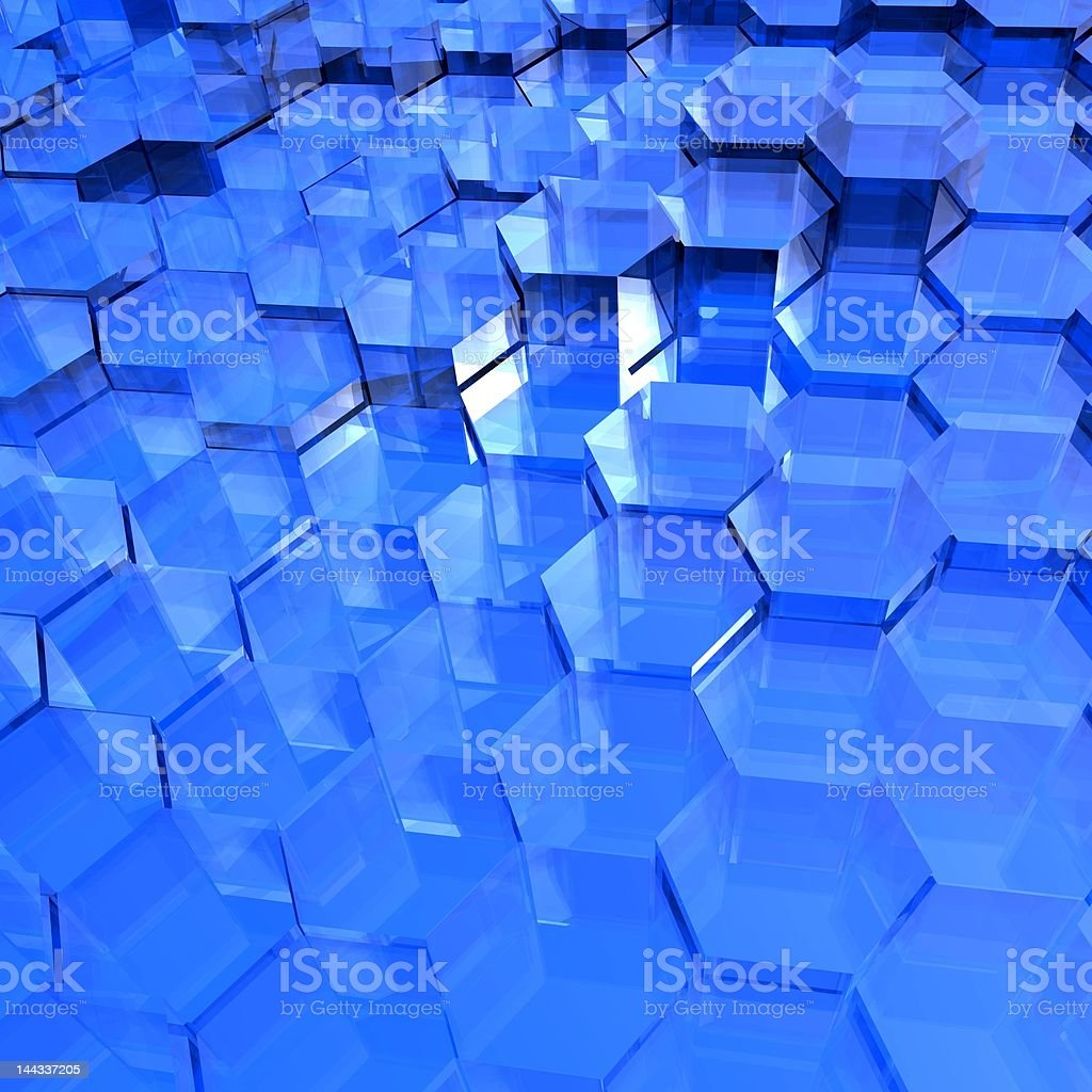 Blue Translucent Hexagons royalty-free stock photo