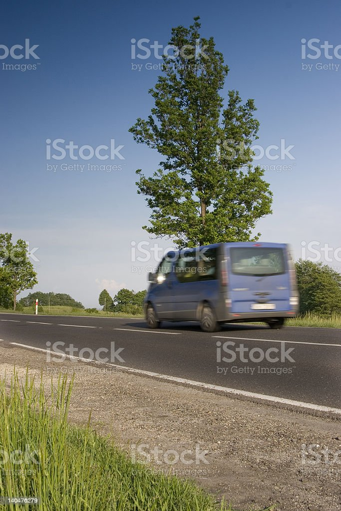 Blue transport car on road royalty-free stock photo