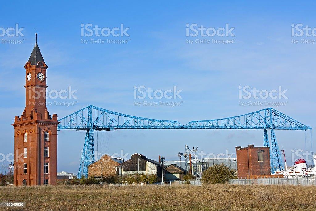 A blue transporter bridge in Middlesborough stock photo