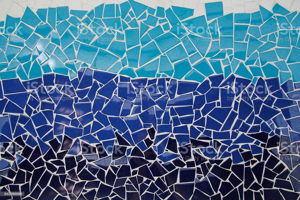 Blue trencadis mosaic stock photo