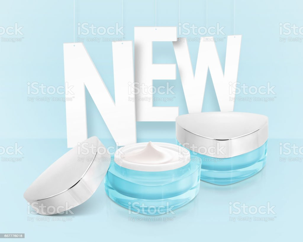 Blue triangle cosmetic jar on paper hanging background stock photo