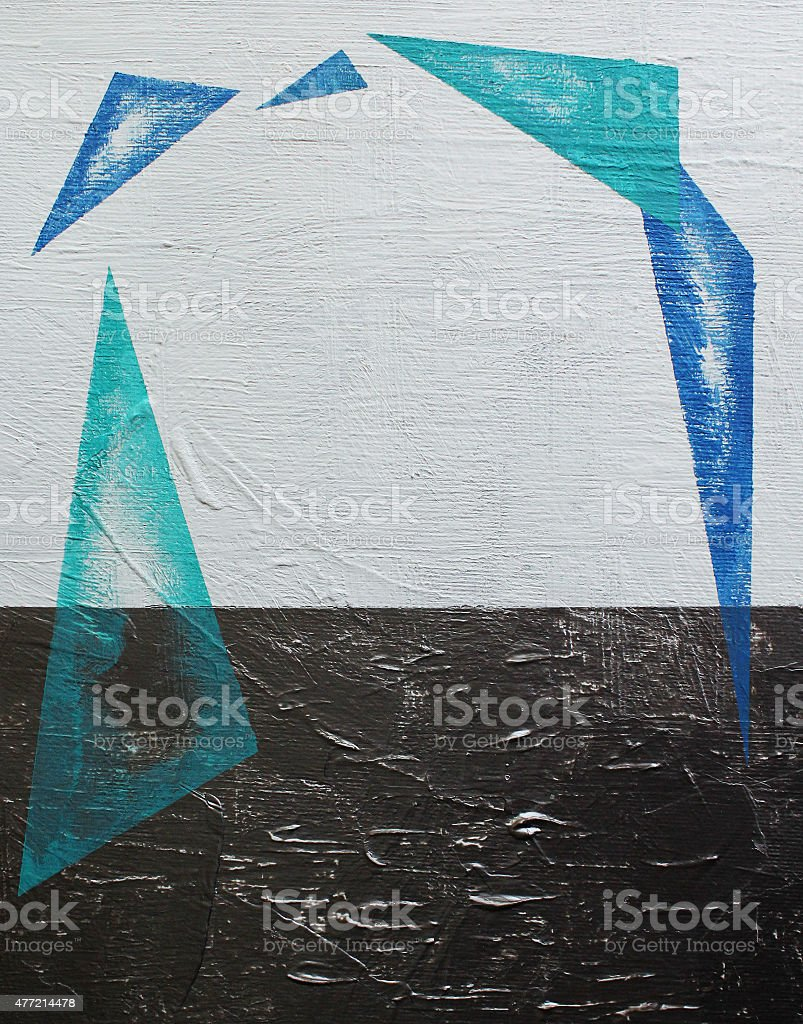 Blue triangles acrylics painting. stock photo