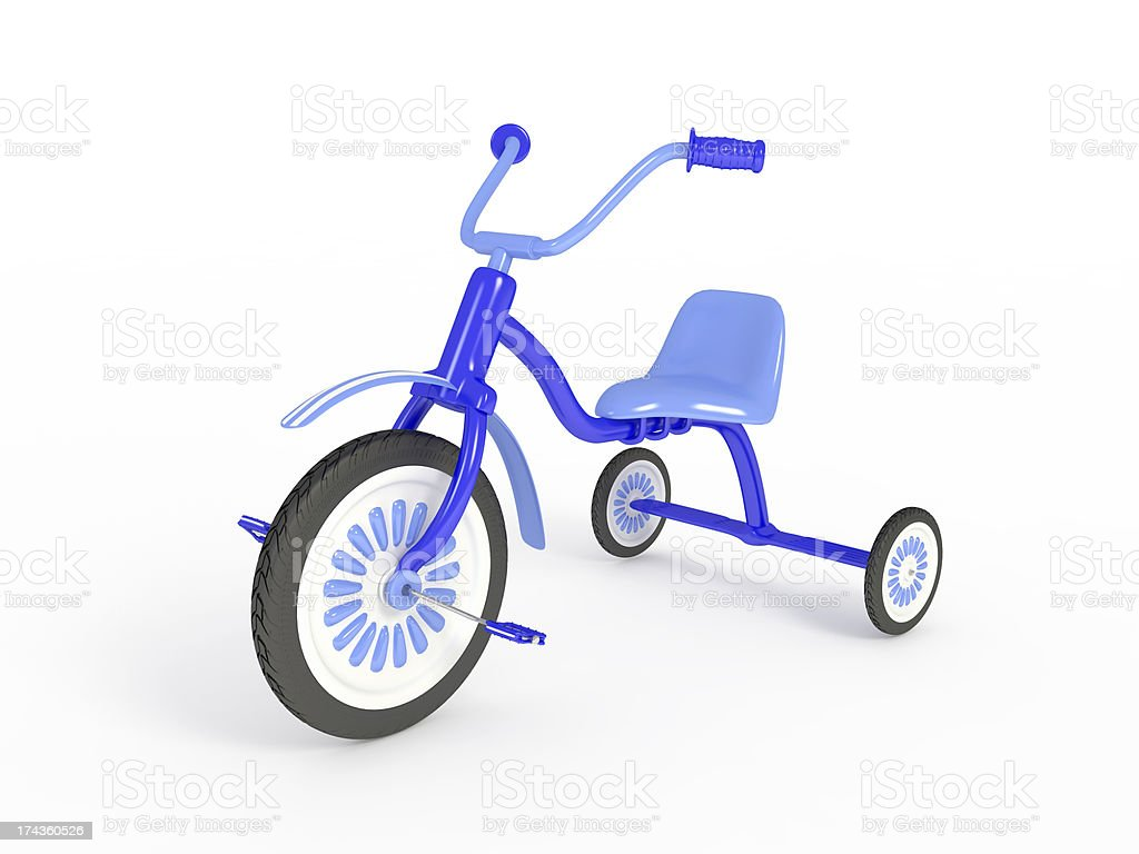 Blue tricycle, isolated on white royalty-free stock photo
