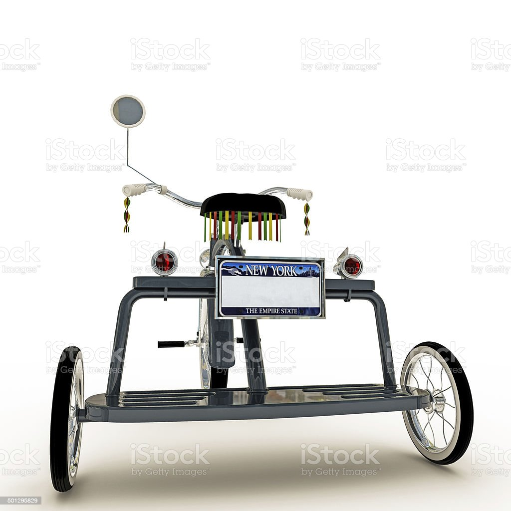 blue tricycle stock photo