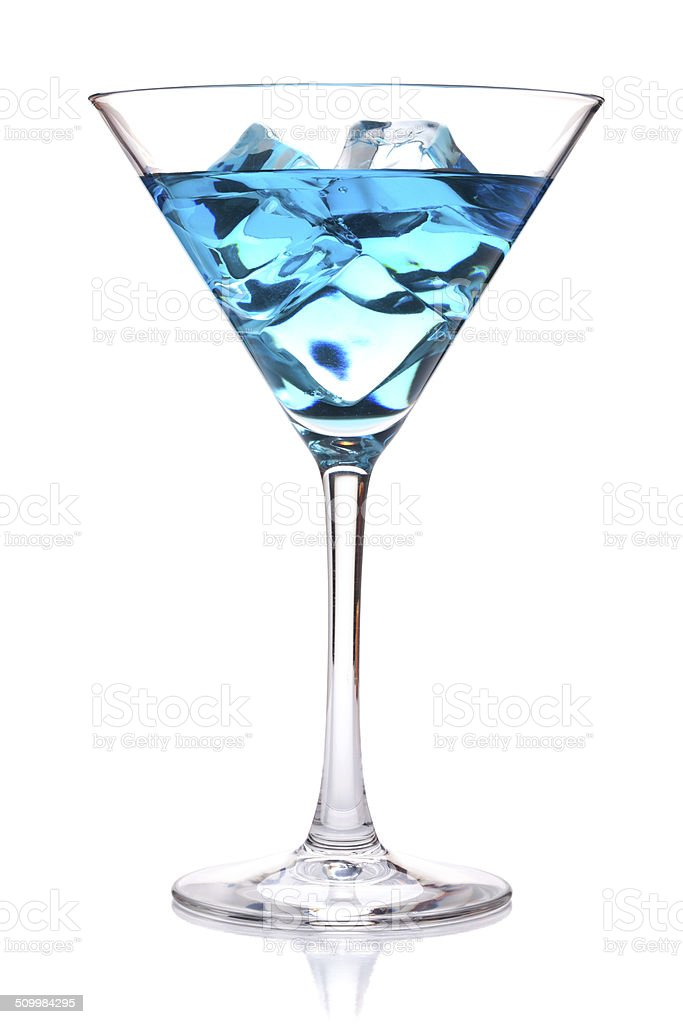 Blue tropical cocktail in martini glass stock photo