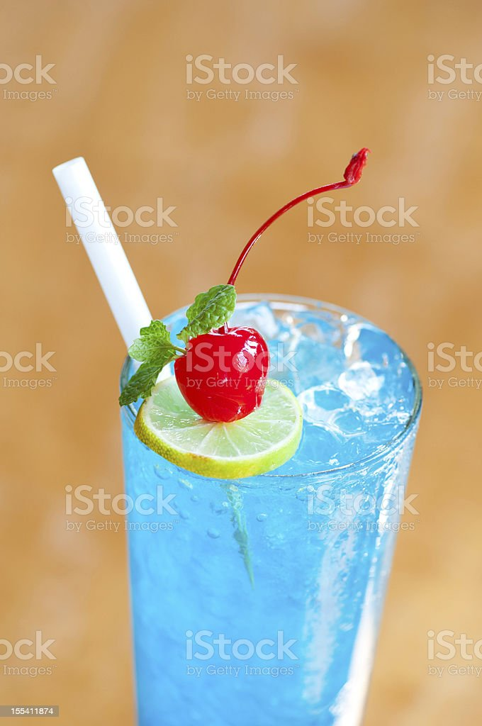 blue tropical cocktail stock photo