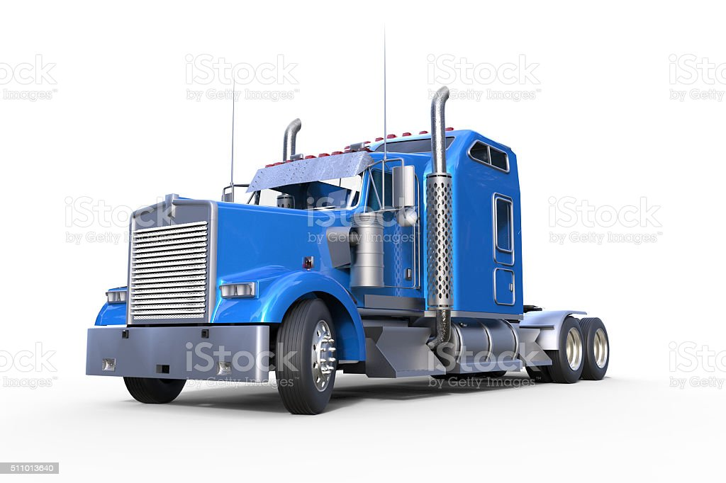 Blue truck and Isolated Background stock photo
