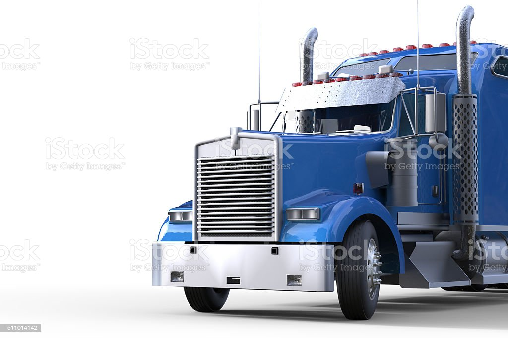 Blue truck Front View and Background Isolated stock photo