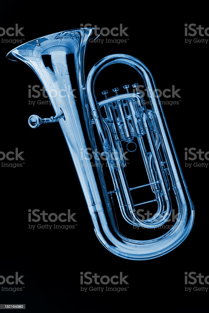 Blue Tuba Euphonium on Black stock photo