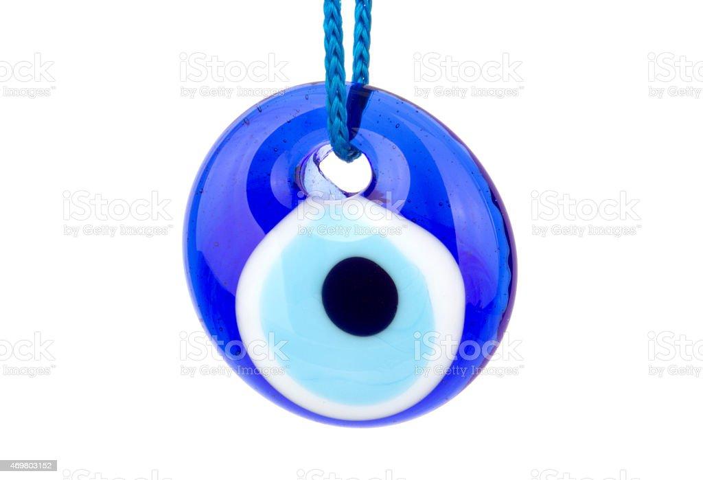 Blue turkish eye isolated on white stock photo