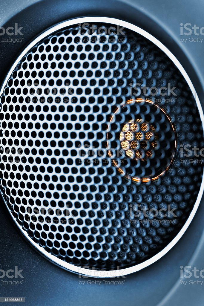 Blue tweeter with grid closeup royalty-free stock photo