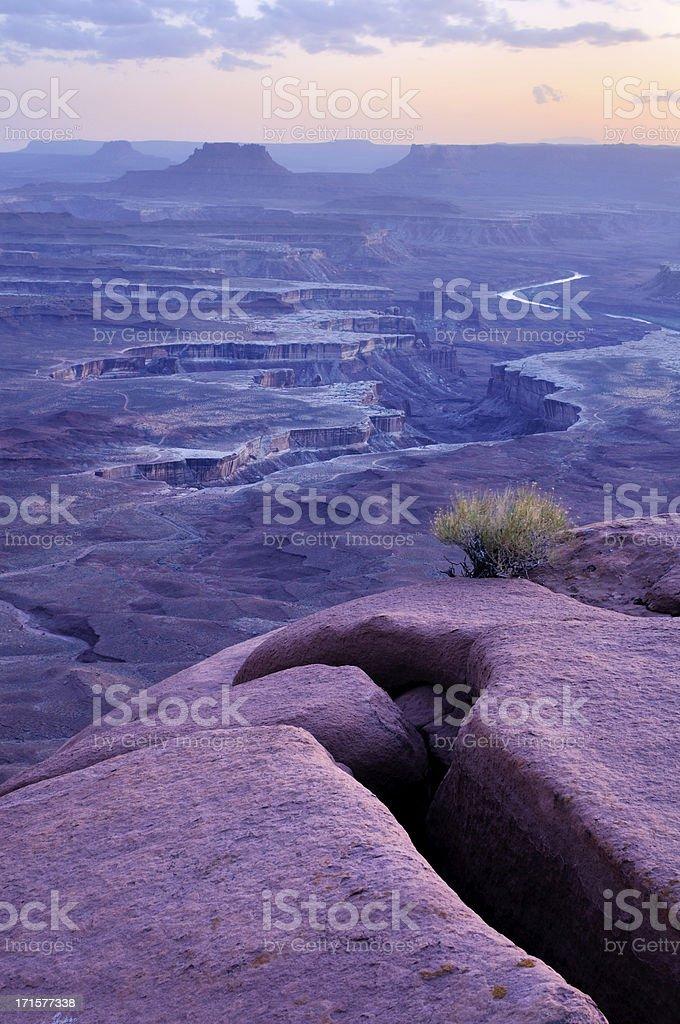 Blue twilight landscape in Canyonlands, Utah, USA stock photo