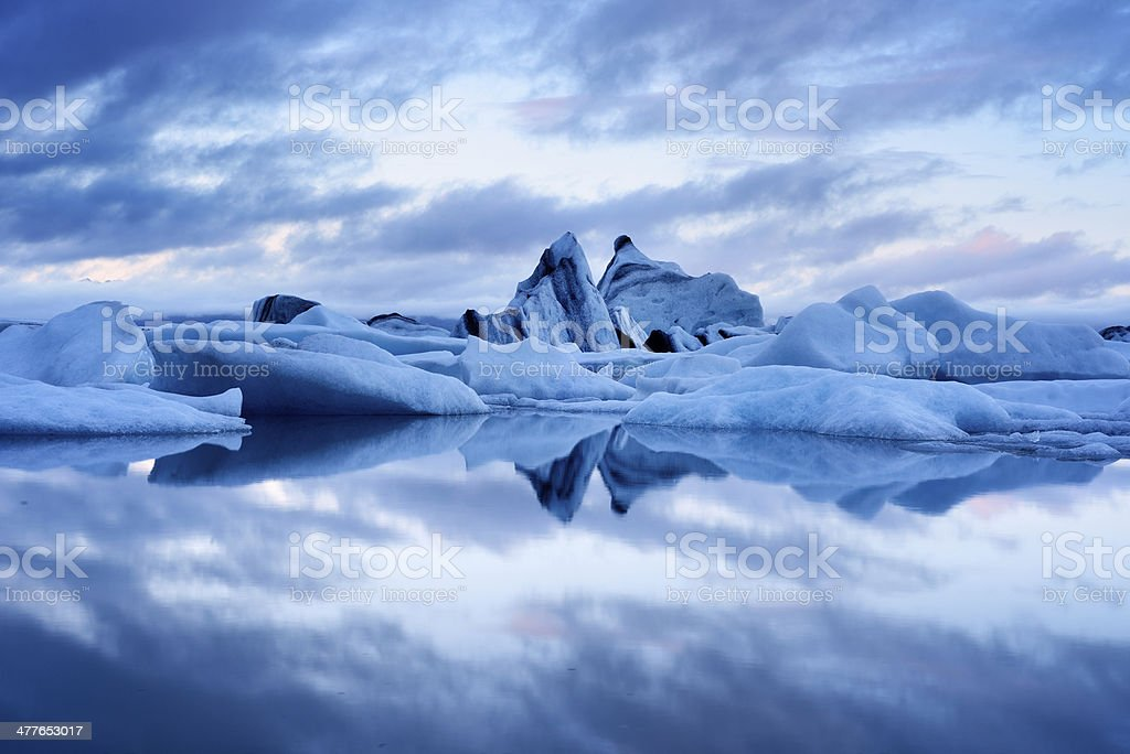Blue twilight landscape of Jokulsarlon Lagoon, Iceland stock photo