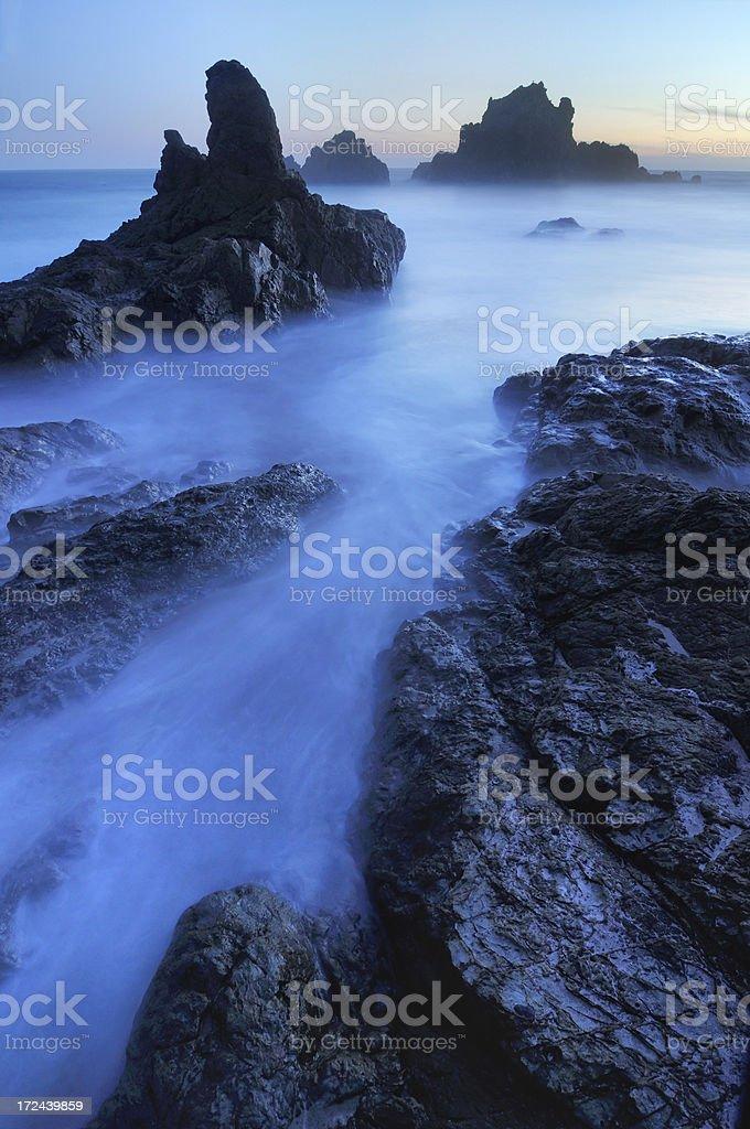 Blue twilight seascape at Big Sur, California, USA royalty-free stock photo