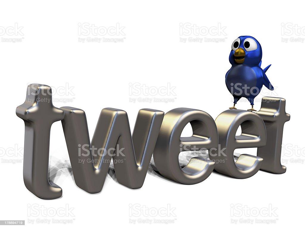 Blue twittering bird standing on the word tweet royalty-free stock photo