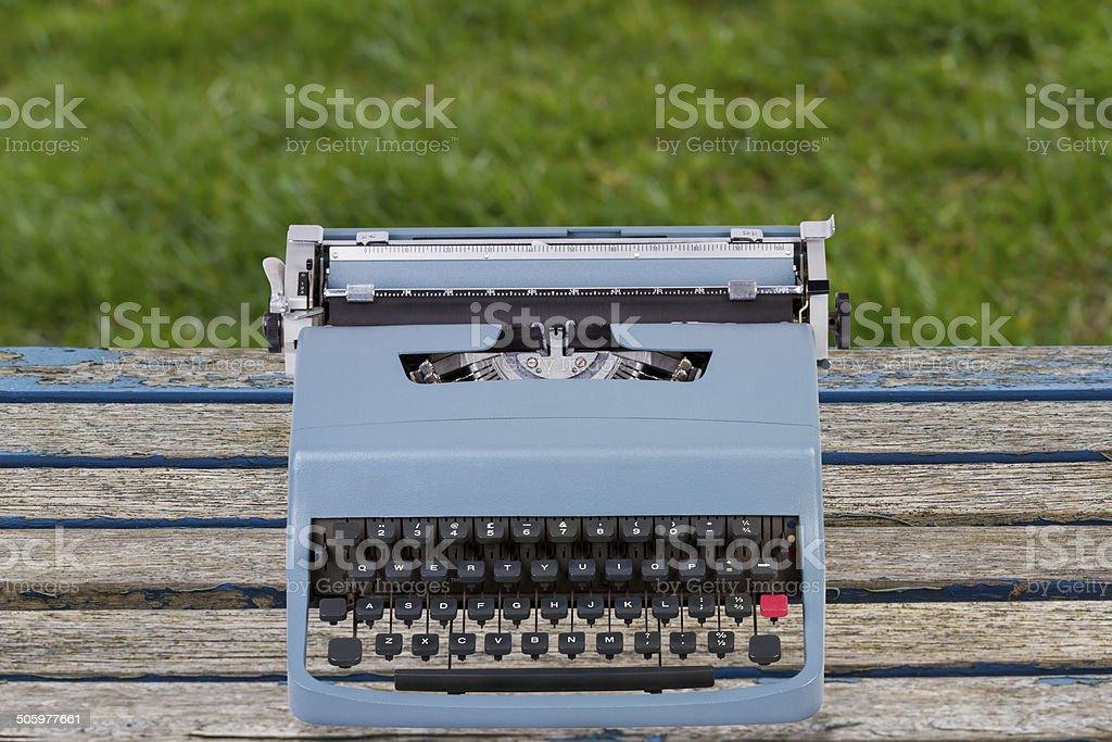 Blue Typewriter stock photo