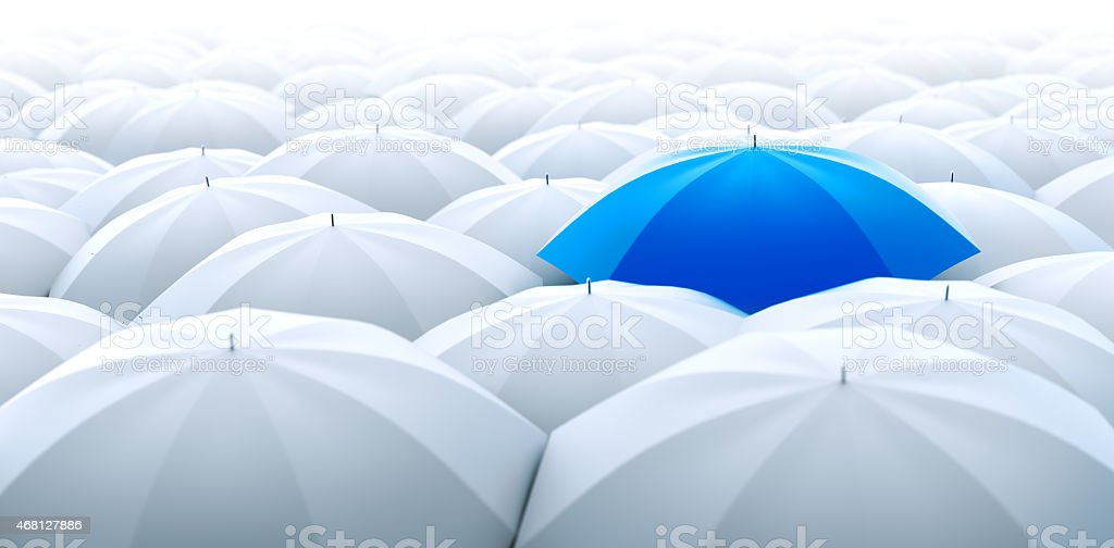 Blue umbrella. Different, leader, unique, boss, individuality, original, special concept stock photo