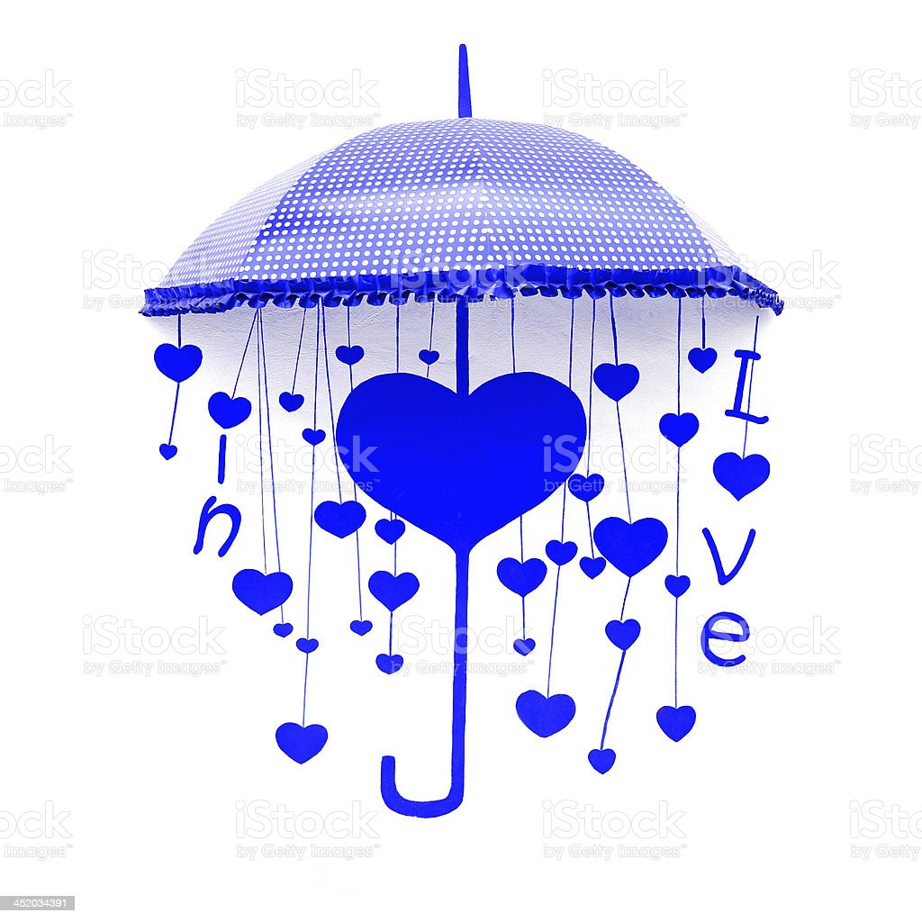 blue umbrella with heart and love royalty-free stock photo