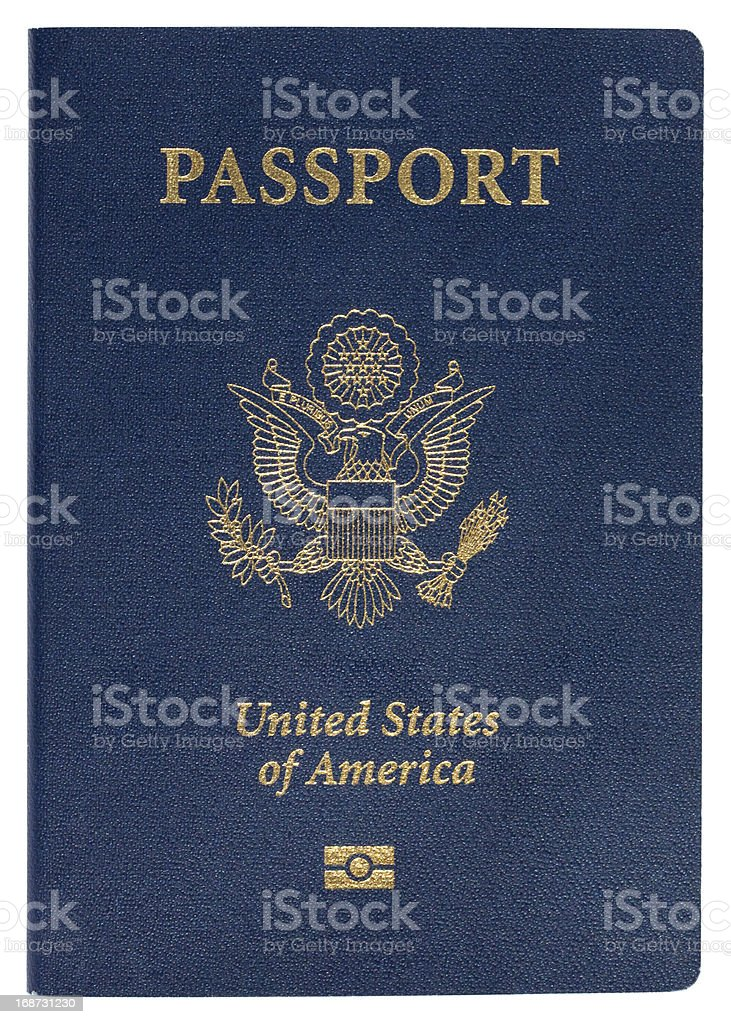 Blue United States of America passport on white background stock photo