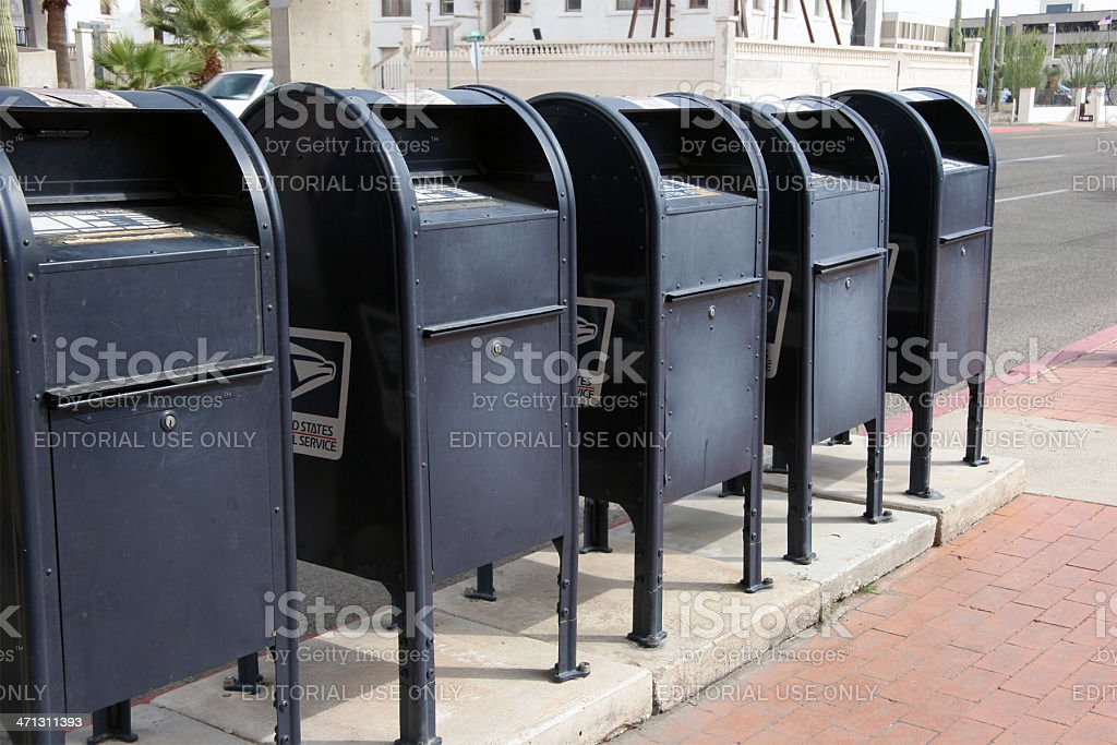 Blue US Postal Service Boxes stock photo