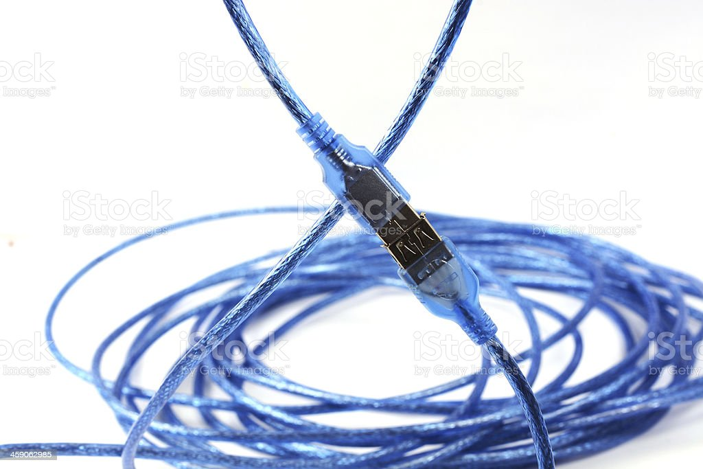 Blue USB cable isolated stock photo