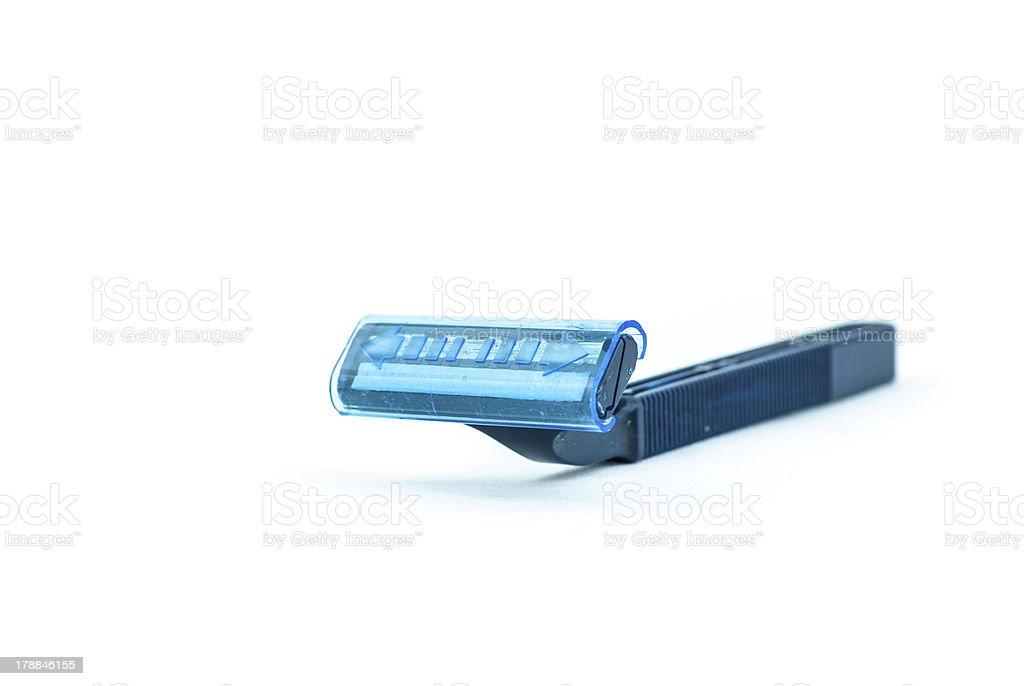 Blue using razor isolate on white background royalty-free stock photo