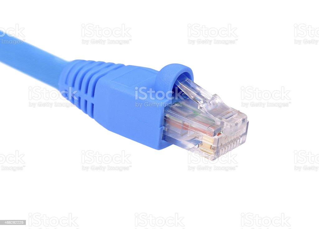 blue utp cat6 network cable isolated on white background stock photo
