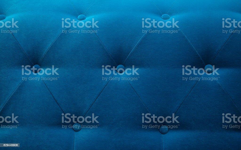 Blue Velvet Bed head background stock photo
