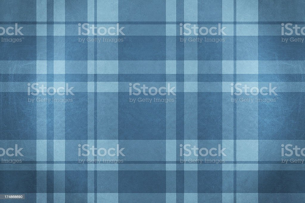 Blue velvet plaid fabric tablecloth stock photo