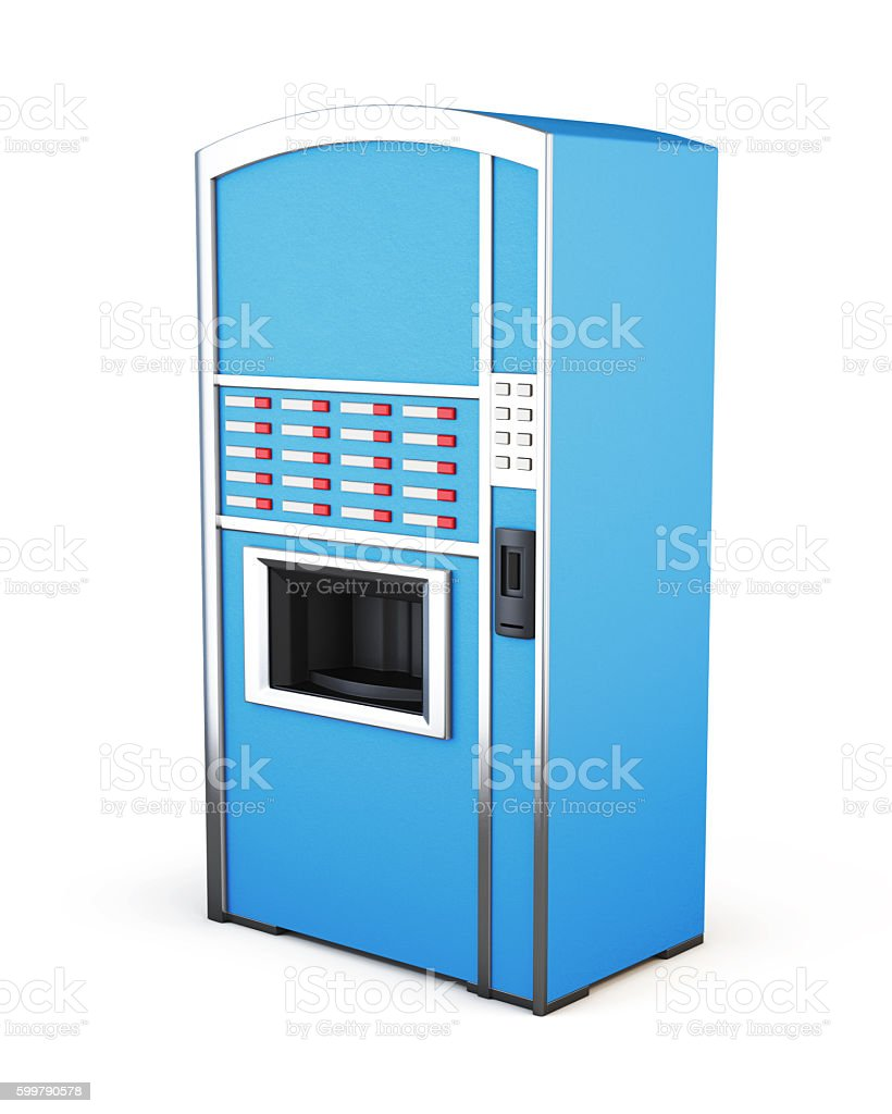 Blue vending machine for drinks and snacks on a white stock photo