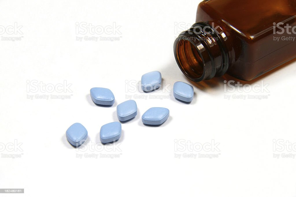 Blue Viagra anti-impotence tablets. stock photo